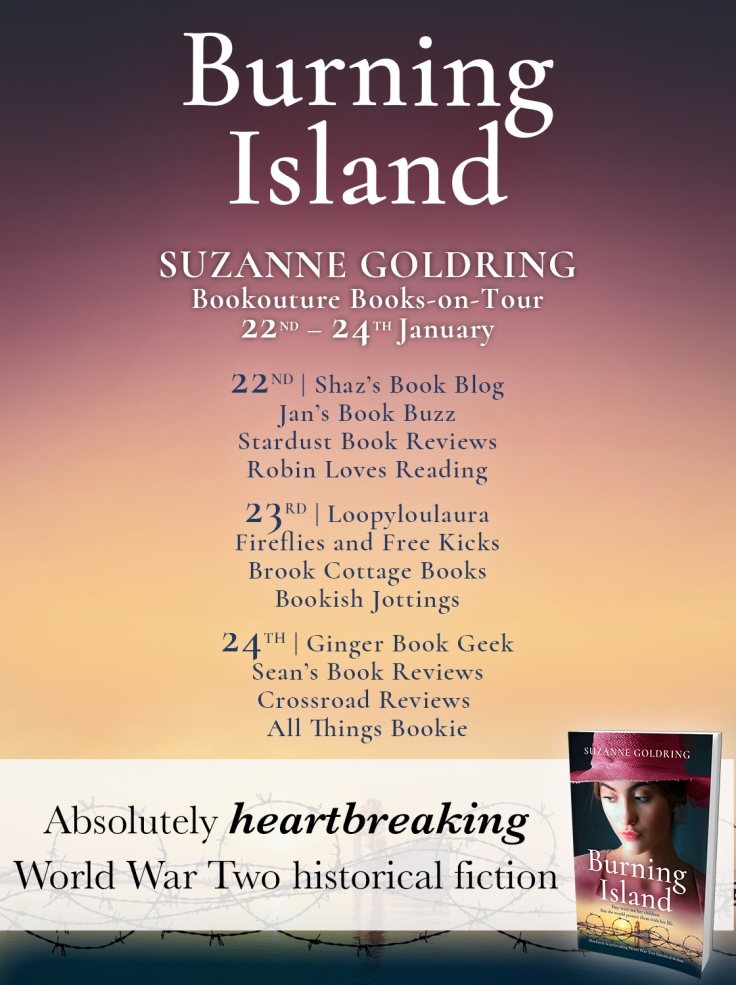 Burning Island blog tour poster